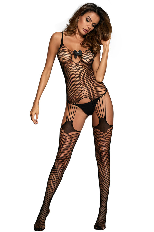 Bodystocking applique nœud papillon Hollow-out