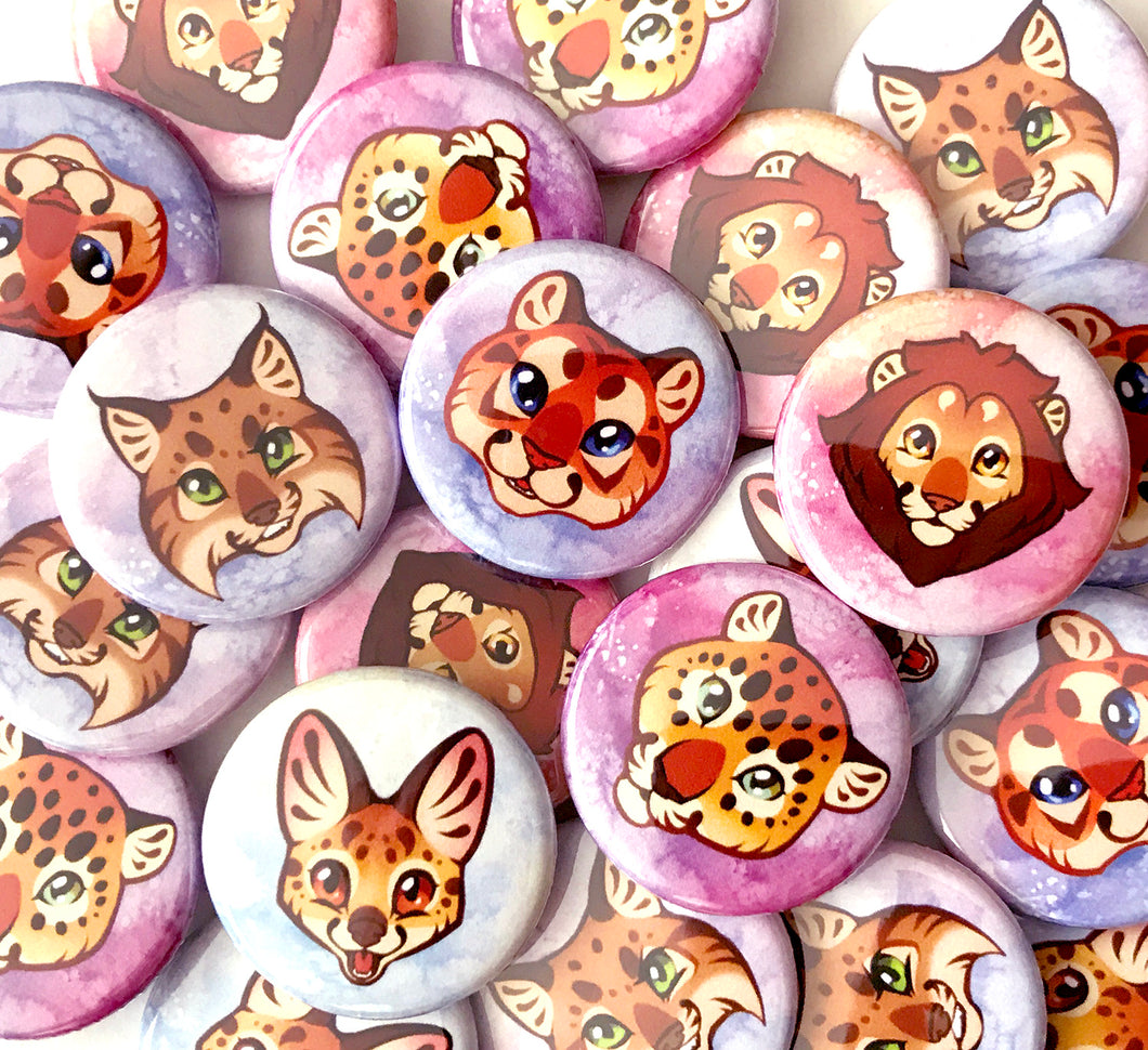 Cute Wild Cat Head Set of 10 Pinback Buttons