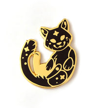 Load image into Gallery viewer, Cosmic Black Cat Enamel Pin