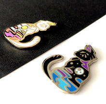 Load image into Gallery viewer, Black Moon Cat Enamel Pin