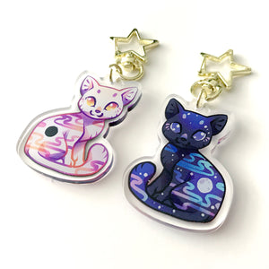 Eclipse&Full Moon Cat Keyring