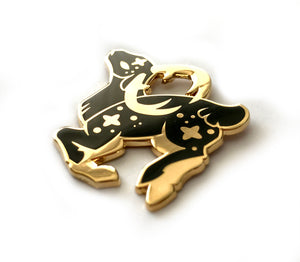 Cosmic Black Deer Enamel Pin