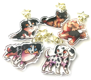 Border Collie Dog Keyring Charm