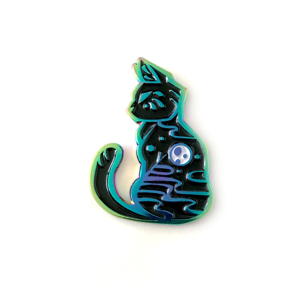 Full Moon Cat Rainbow Enamel Pin