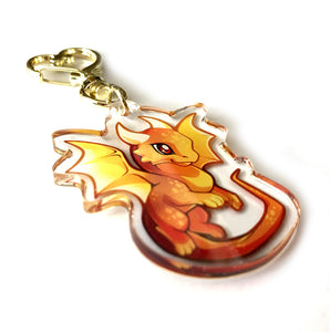 Golden Dragon Keyring Charm