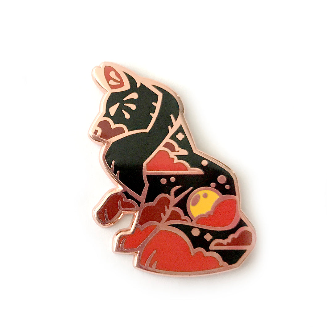 Harvest Moon Wolf Enamel Pin