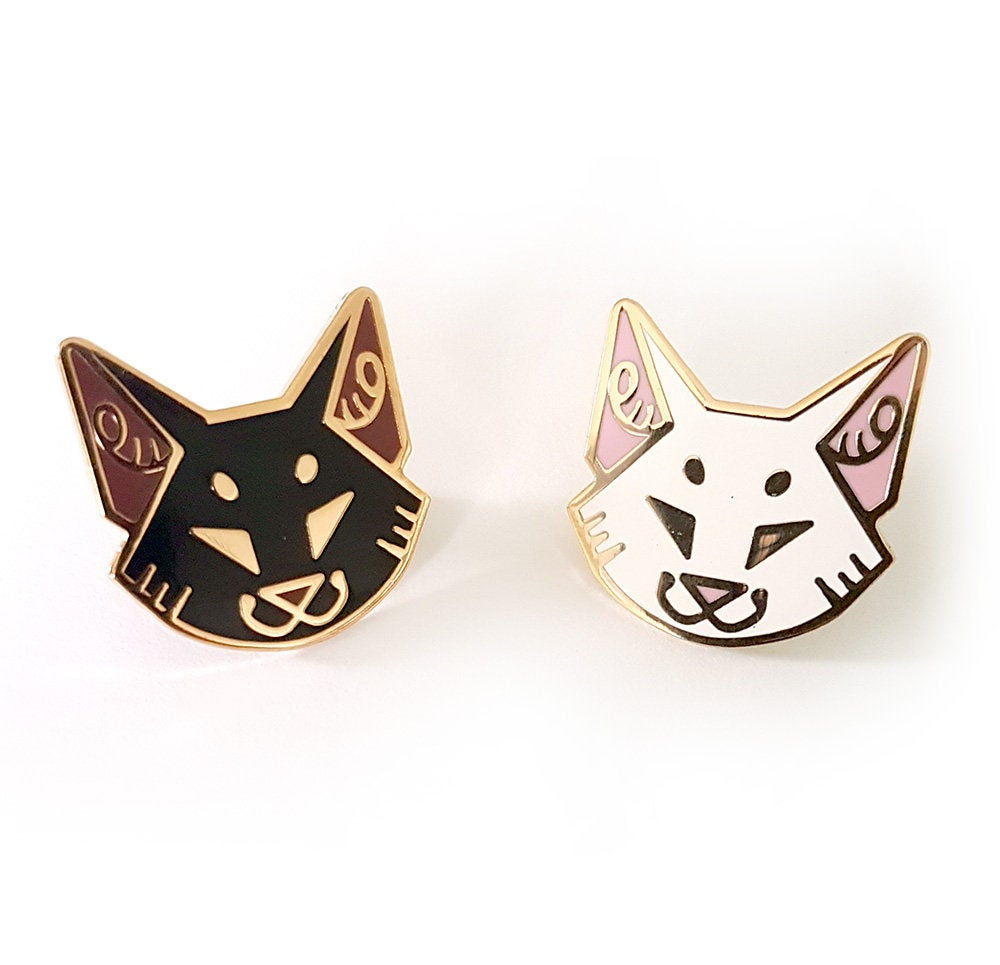 Angular Cat Head Enamel Pins