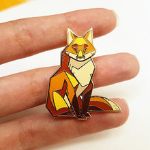 Load image into Gallery viewer, Angular Red Fox Gold Metal Hard Enamel Pin