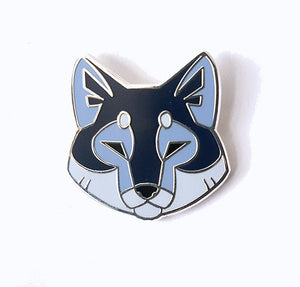 Angular Wolf Head Silver Metal Hard Enamel Pin