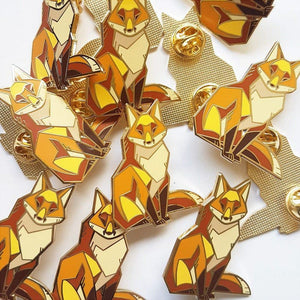 Angular Red Fox Gold Metal Hard Enamel Pin