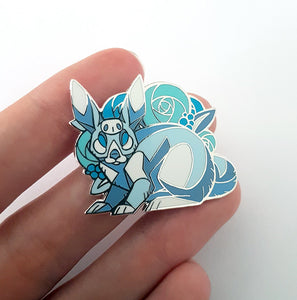 Angular White Rabbit with Blue Flowers Enamel Pin
