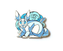 Load image into Gallery viewer, Angular White Rabbit with Blue Flowers Enamel Pin