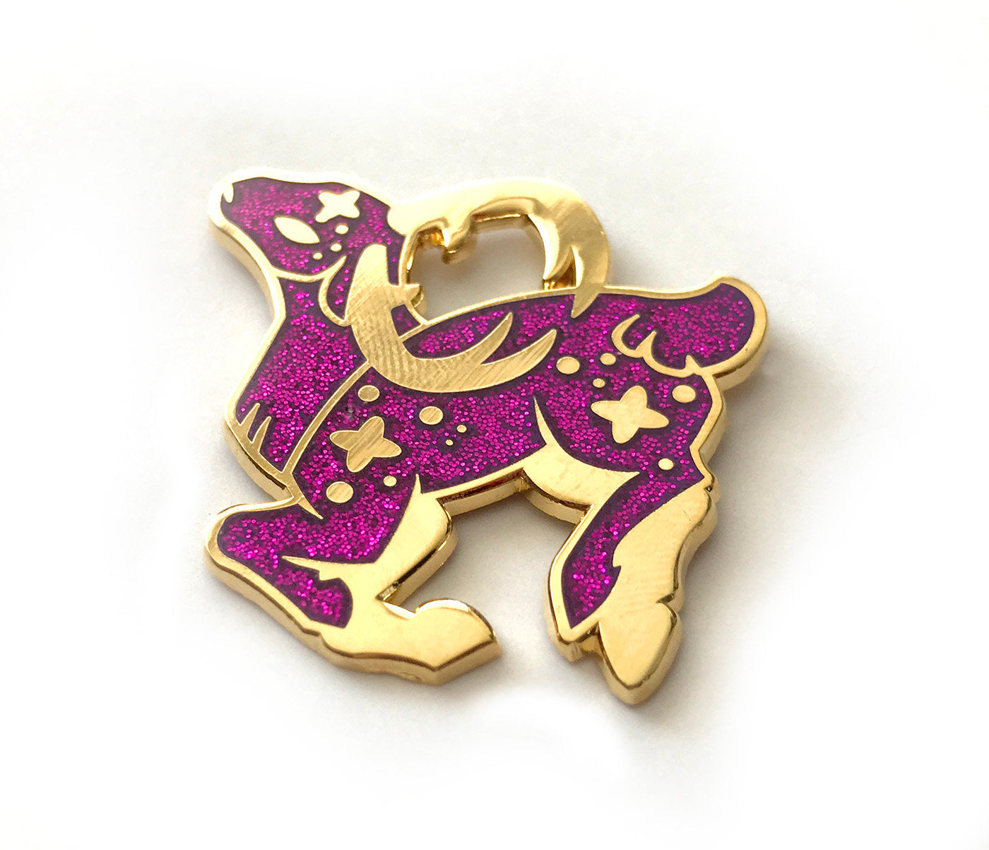 Cosmic Purple Glitter Deer Enamel Pin