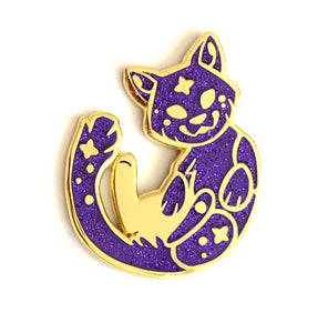 Cosmic Purple Glitter Cat Enamel Pin