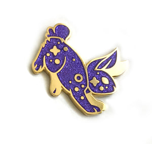 Cosmic Purple Glitter Rabbit Enamel Pin