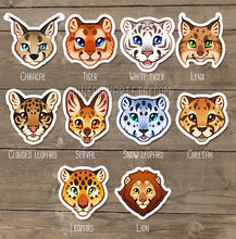 Load image into Gallery viewer, Wild Cat Head Sticker Set