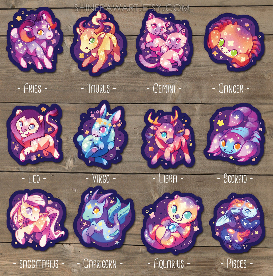 Cute Western Zodiac Animal Sticker Set