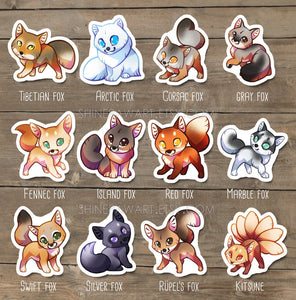 Cute Fox Sticker Set