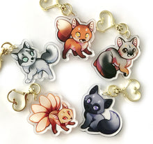 Load image into Gallery viewer, Kitsune Fox Keyring Charm