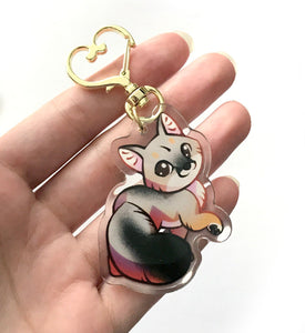 Gray Fox Keyring Charm