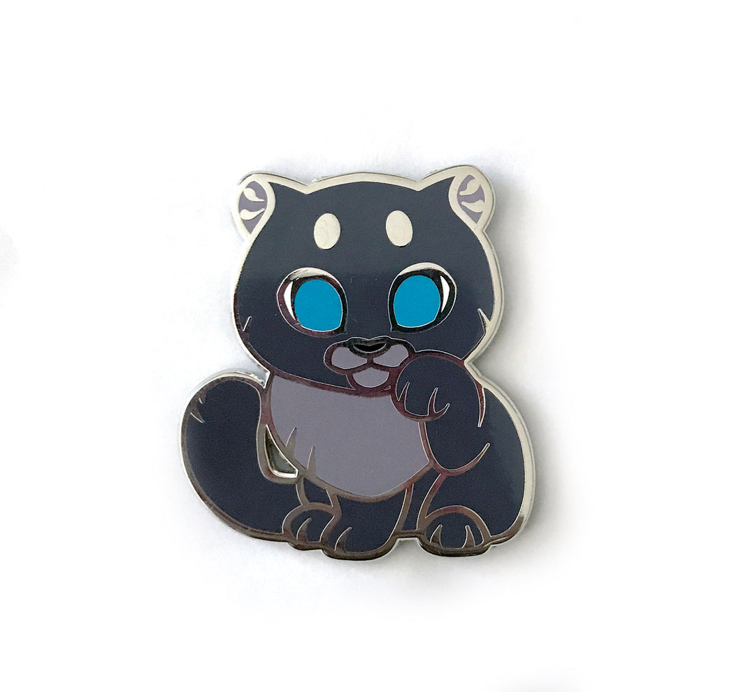 Black Panther Lucky Cat Enamel Pin - Normal