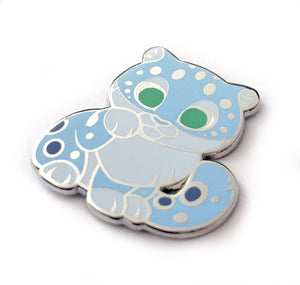 Snow Leopard Lucky Cat Enamel Pin
