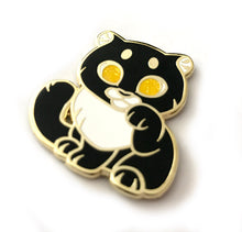 Load image into Gallery viewer, Black Panther Lucky Cat Enamel Pin - Black&White