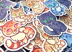 Cute Lucky Wild Cats Sticker Set