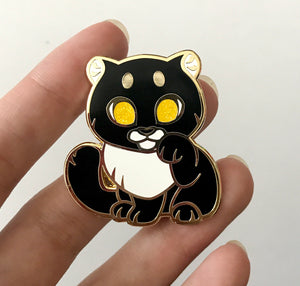 Black Panther Lucky Cat Enamel Pin - Black&White