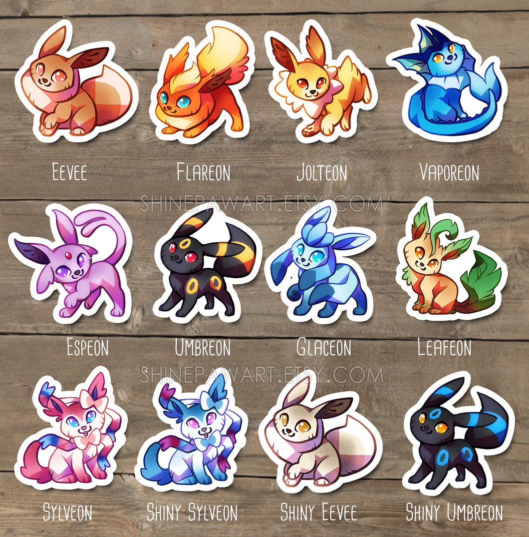 Cute Eeveelution Sticker Set