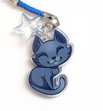 Load image into Gallery viewer, Chibi Blue Cat Keyring Charm