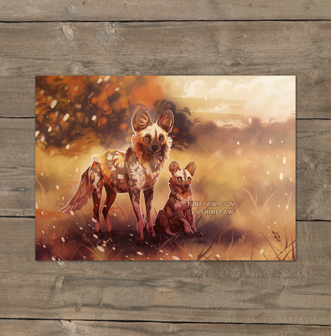 African Wild Dog - Mini Art Print