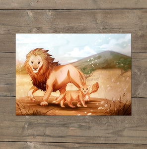 Lion Family - Mini Art Print