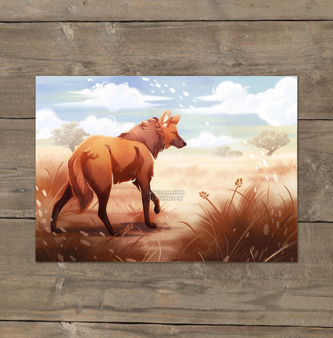 Maned Wolf - Mini Art Print