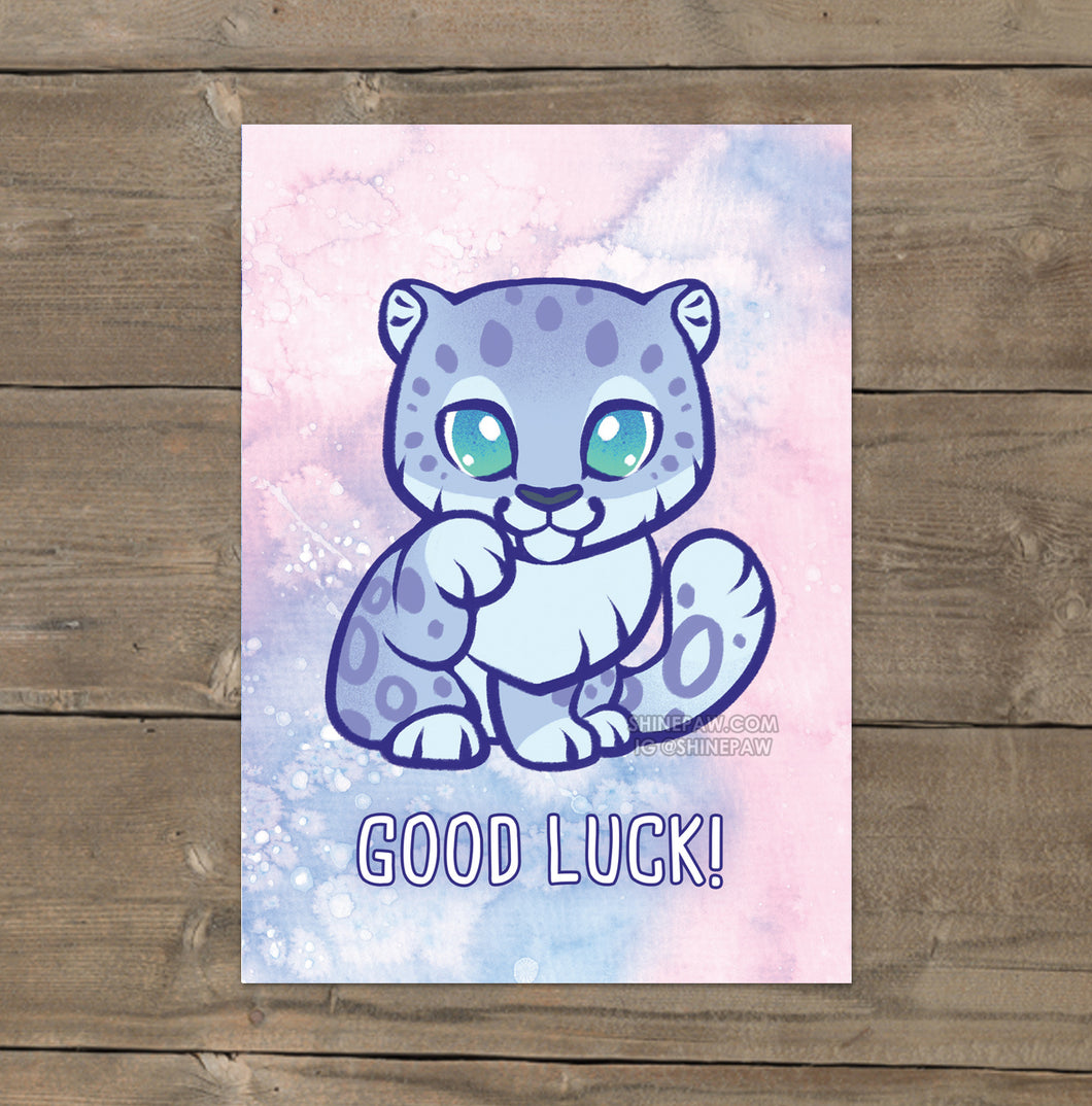 Good Luck Snow Leopard - Mini Art Print