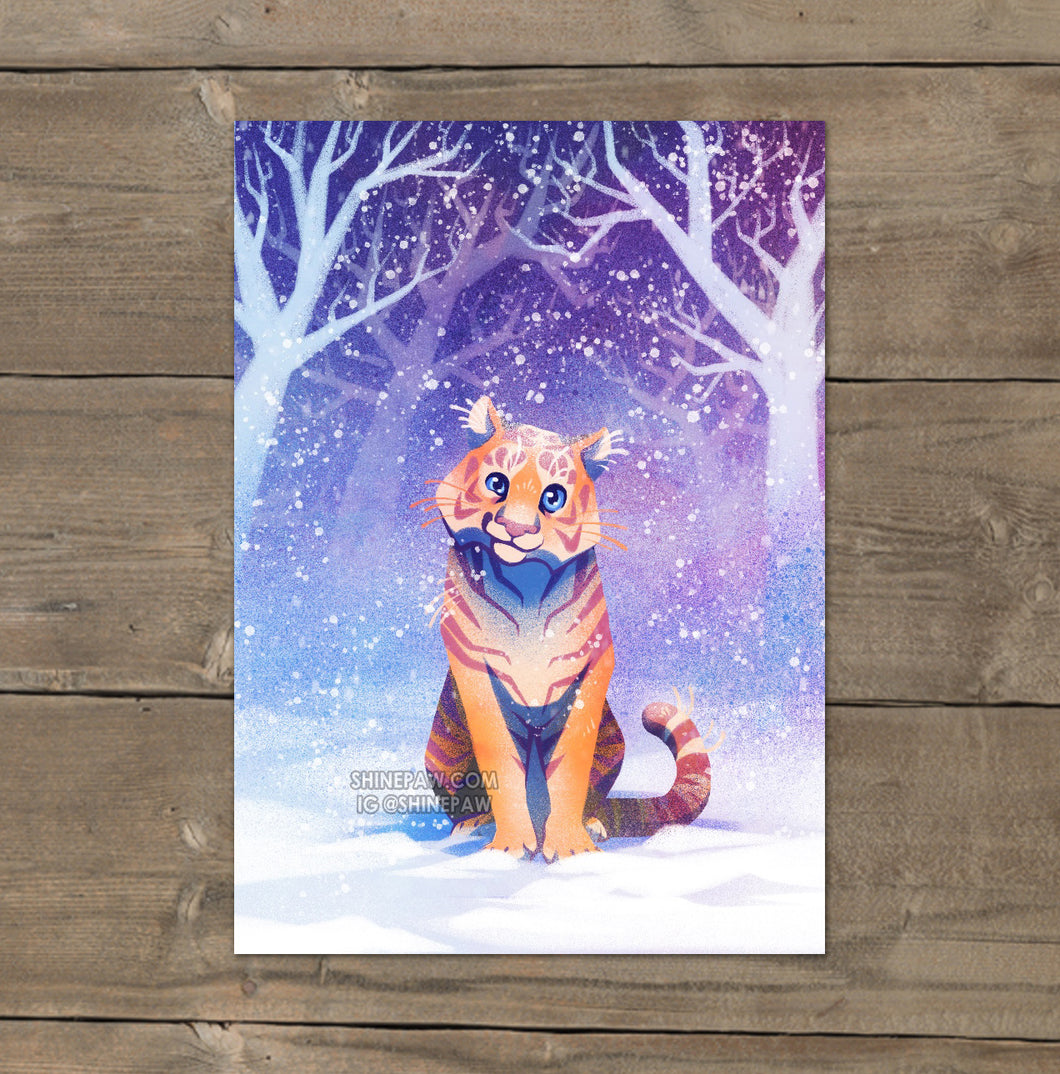Tiger in Snow - Mini Art Print