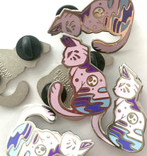 Load image into Gallery viewer, Purple Moon Cat Enamel Pin