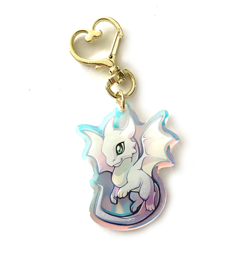 Rainbow White Dragon Keyring Charm