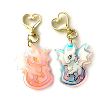 Load image into Gallery viewer, Rainbow White Dragon Keyring Charm