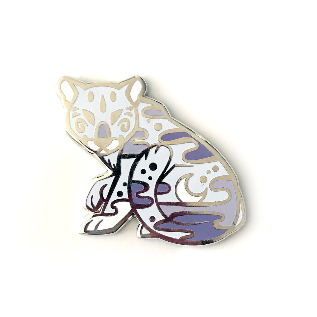 Silver Night Panther Enamel Pin