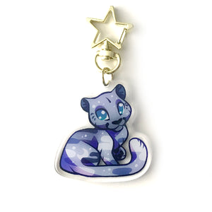 Silver Night Panther Keyring