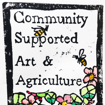 Community Supported Art & Agriculture - Hand Coloured Lino Print (Unframed)