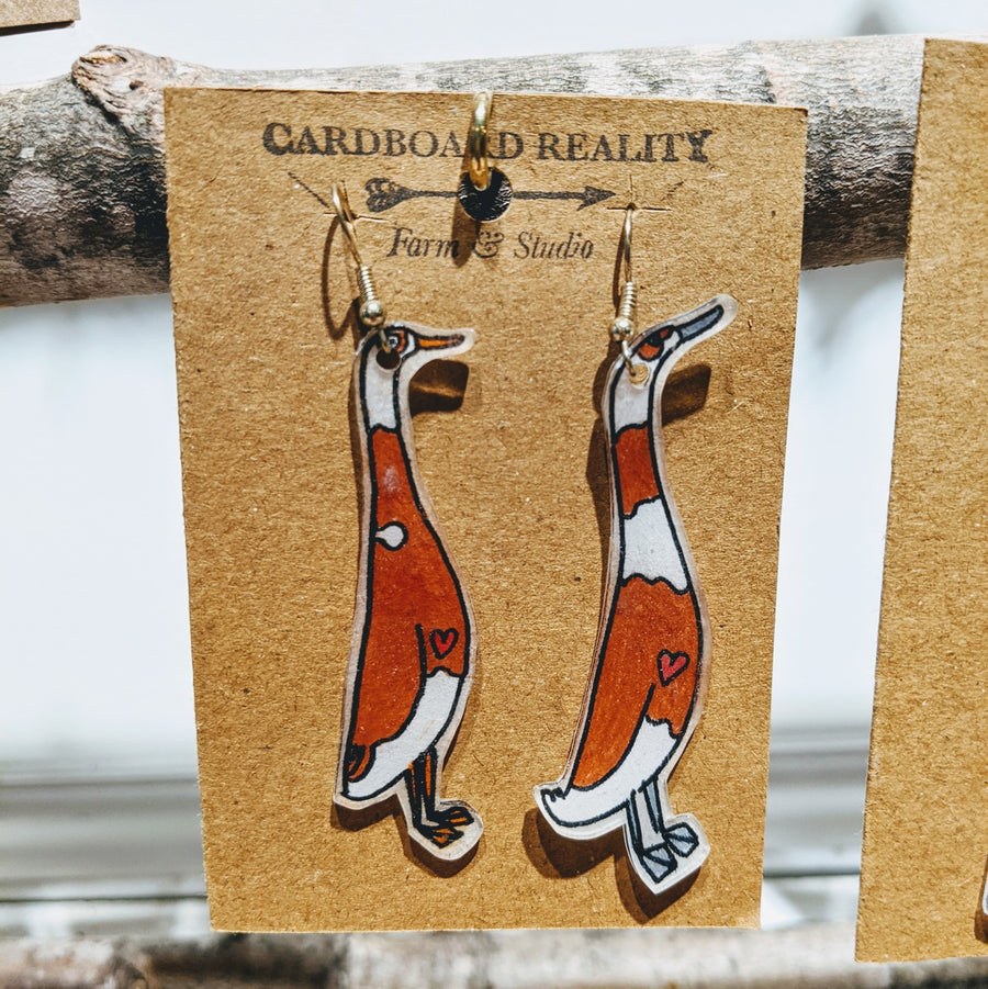 Indian Runner Duck Earrings - Rust & White