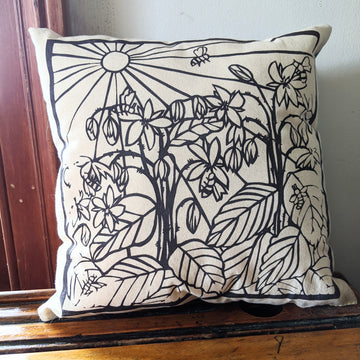 Bees & Borage Pillow - Black