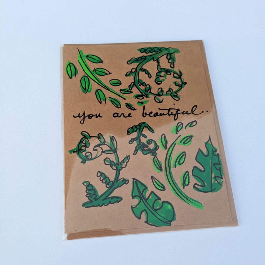 You are beautiful - Fern & Monstera Leaf Card