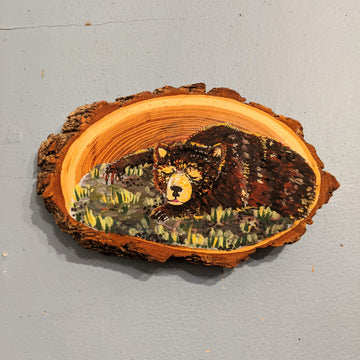 Sun Bear Woodslice Painting