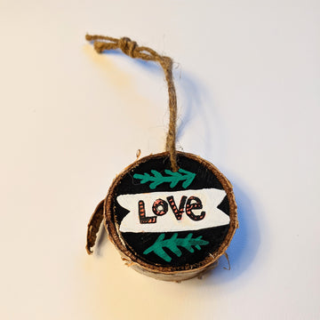Love Banner Wood Slice Ornaments