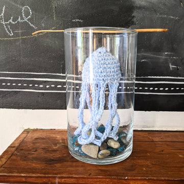 Floating Crochet Jellyfish in a Glass Tank
