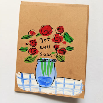Get Well Soon - Mason Jar of Roses Card