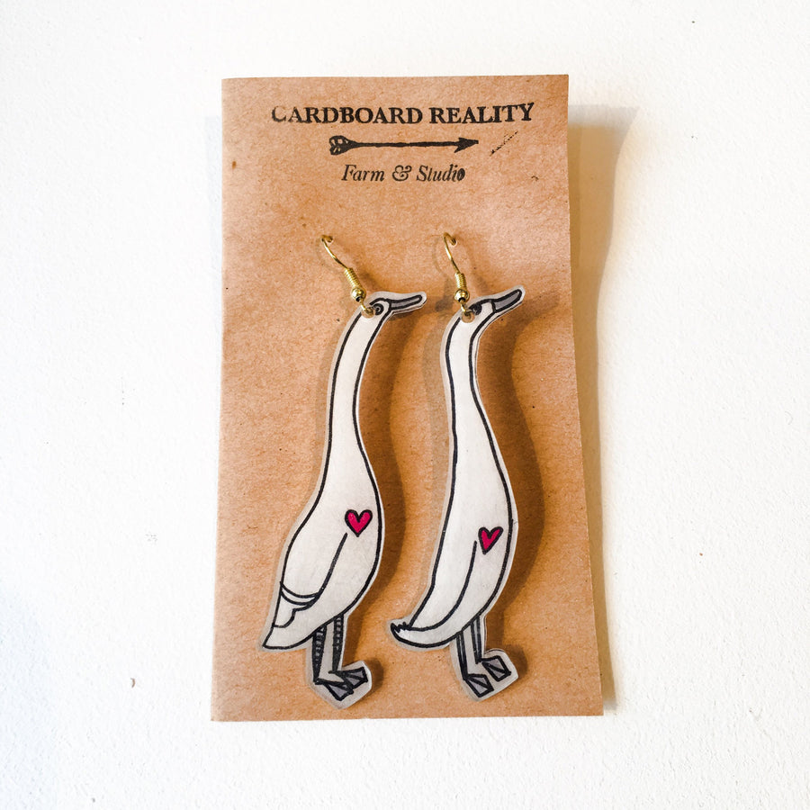 Indian Runner Duck Earrings - White
